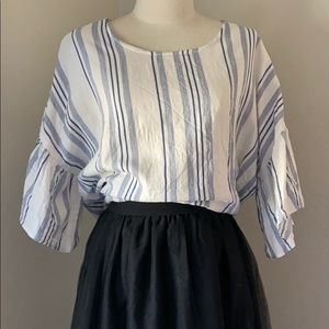 Bobeau stripped down blouse with flare sleeves